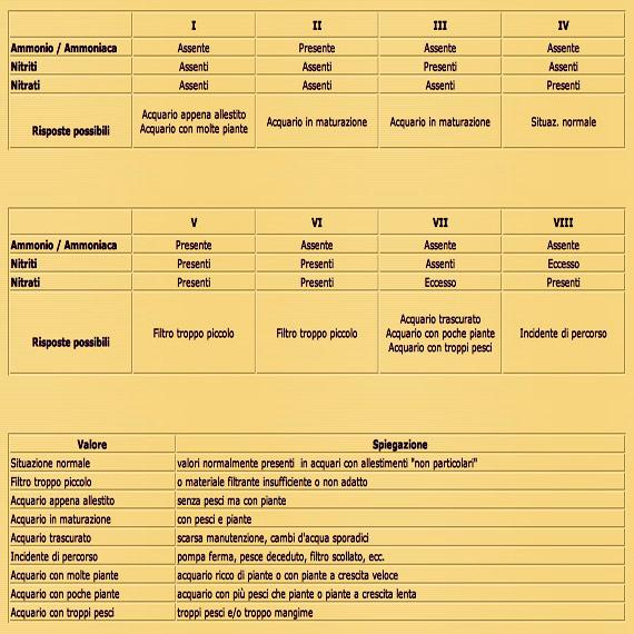 Le combinazioni possibili tra i valori di ammonio/ammoniaca